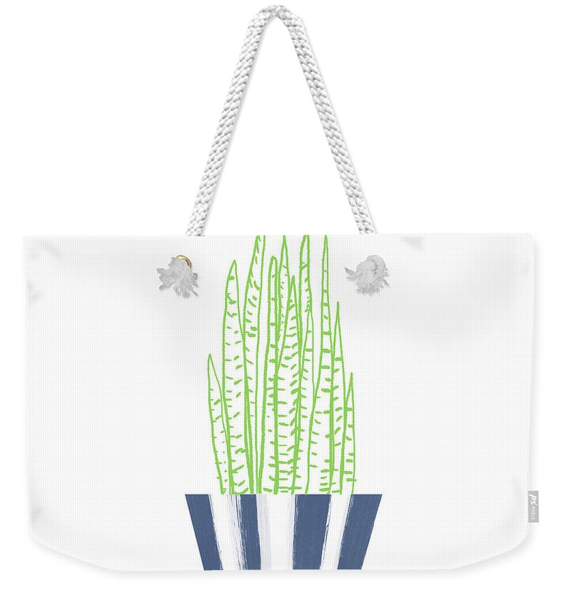 Plant Weekender Tote Bag featuring the mixed media Potted Succulent 3- Art By Linda Woods by Linda Woods