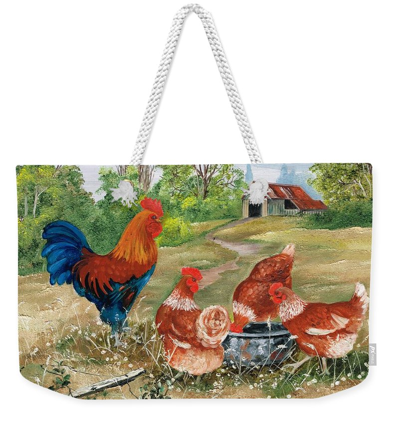 Chooks. 3 Chooks Weekender Tote Bag featuring the painting Poultry Peckin Pals by Val Stokes