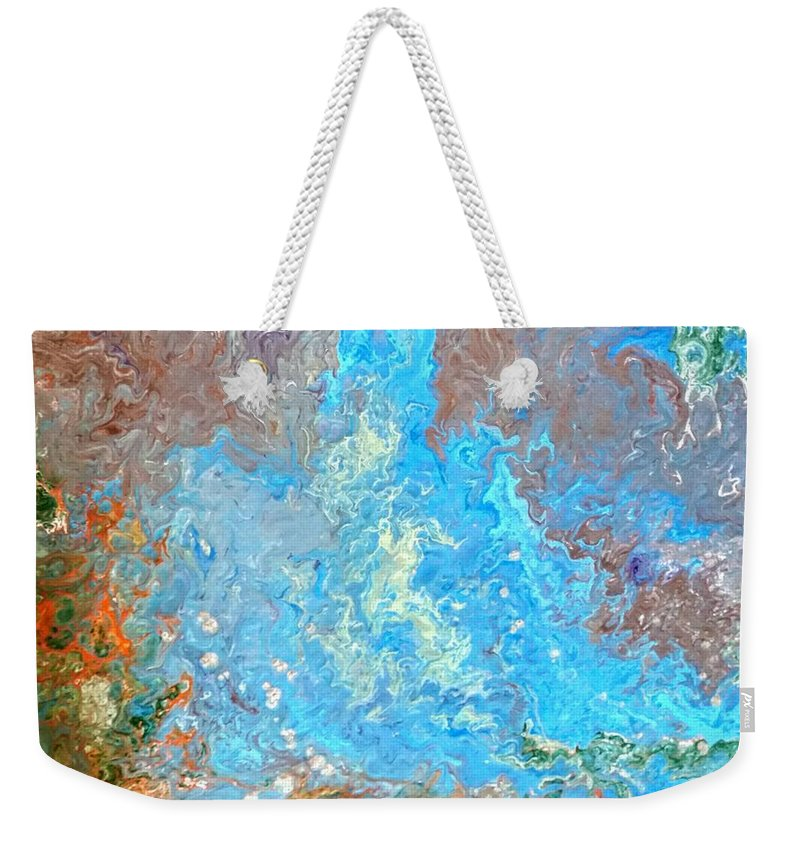 Acrylic Pour Weekender Tote Bag featuring the painting Siskiyou Creek by Valerie Josi