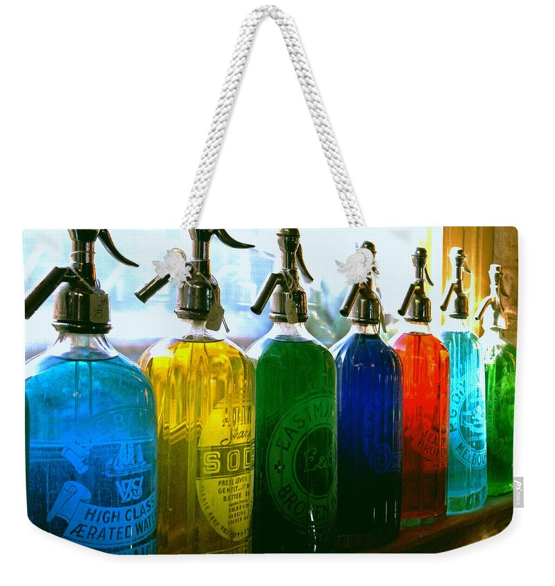 Food And Beverage Weekender Tote Bag featuring the photograph Pour Me A Rainbow by Holly Kempe