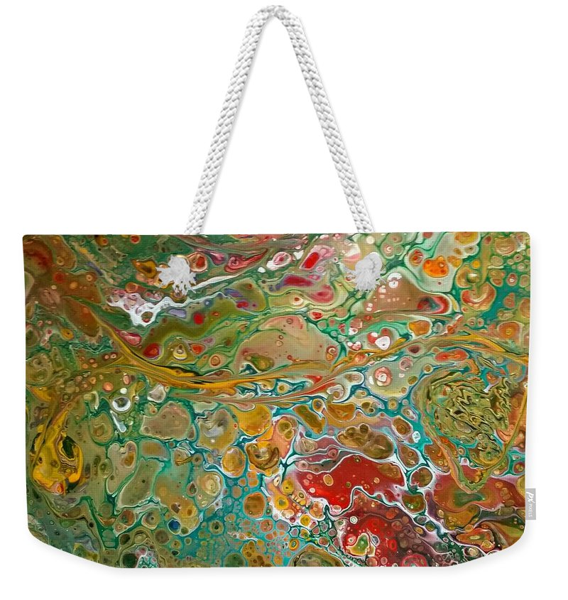 Pour Weekender Tote Bag featuring the painting Pour10 by Valerie Josi