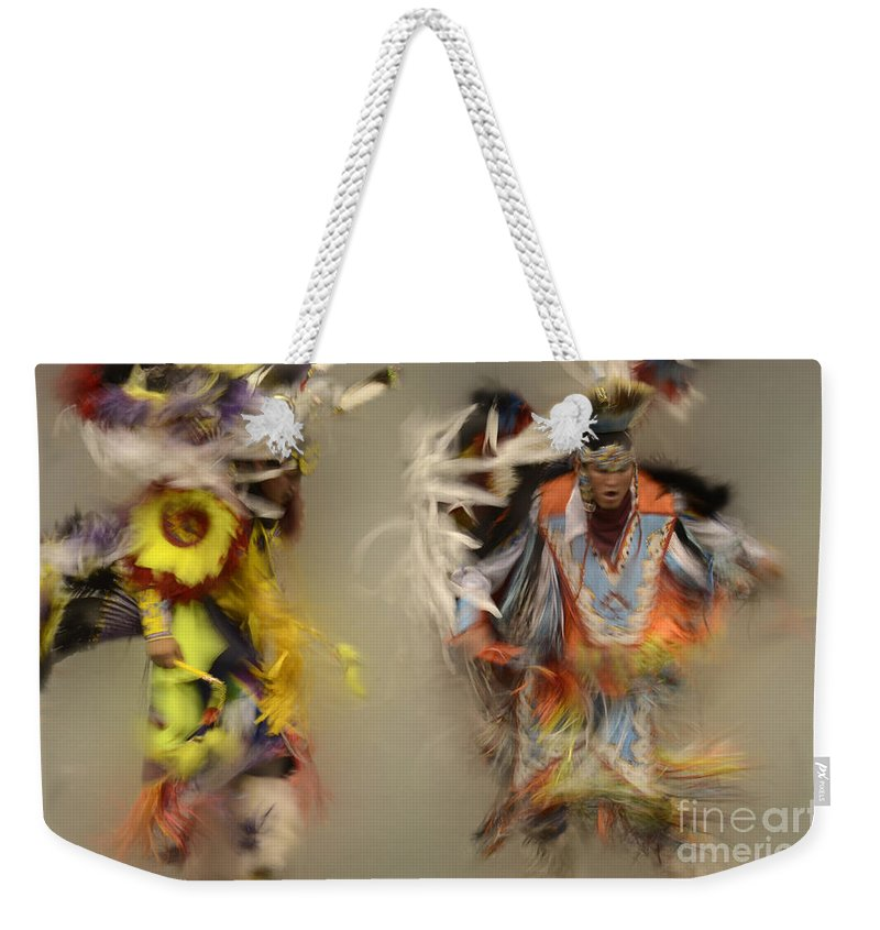 Pow Wow Weekender Tote Bag featuring the photograph Pow Wow Beauty Of The Dance 1 by Bob Christopher