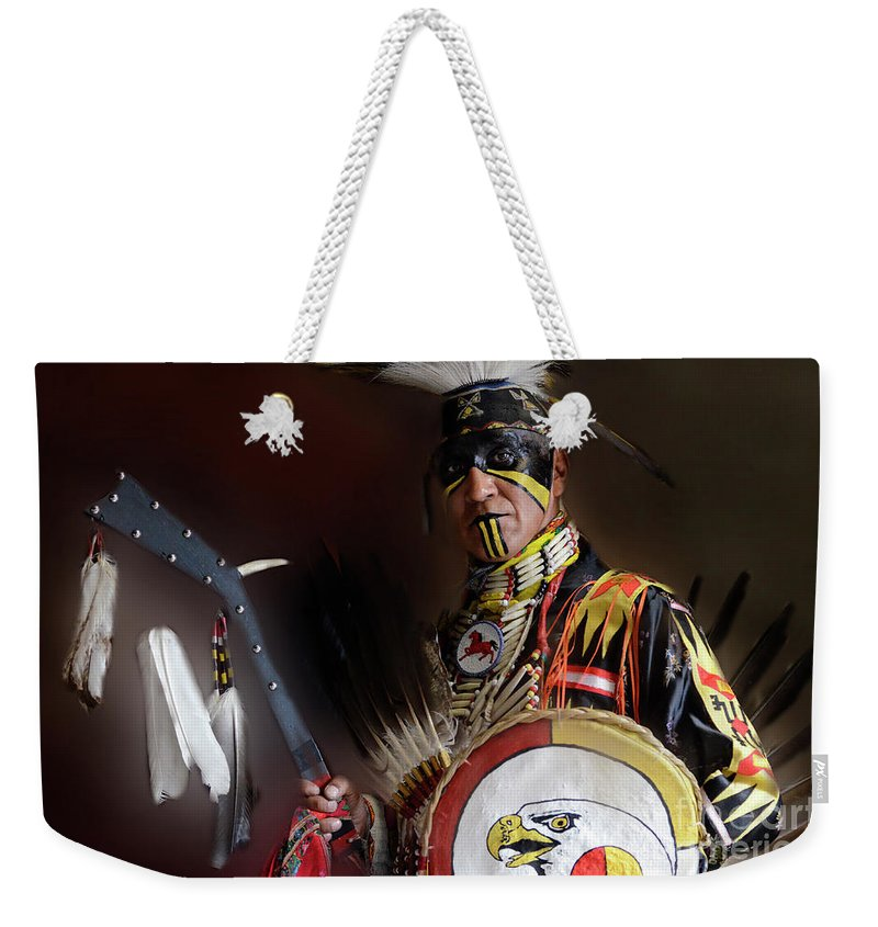 Pow Wow Weekender Tote Bag featuring the photograph Pow Wow Portrait Of A Proud Man 2 by Bob Christopher