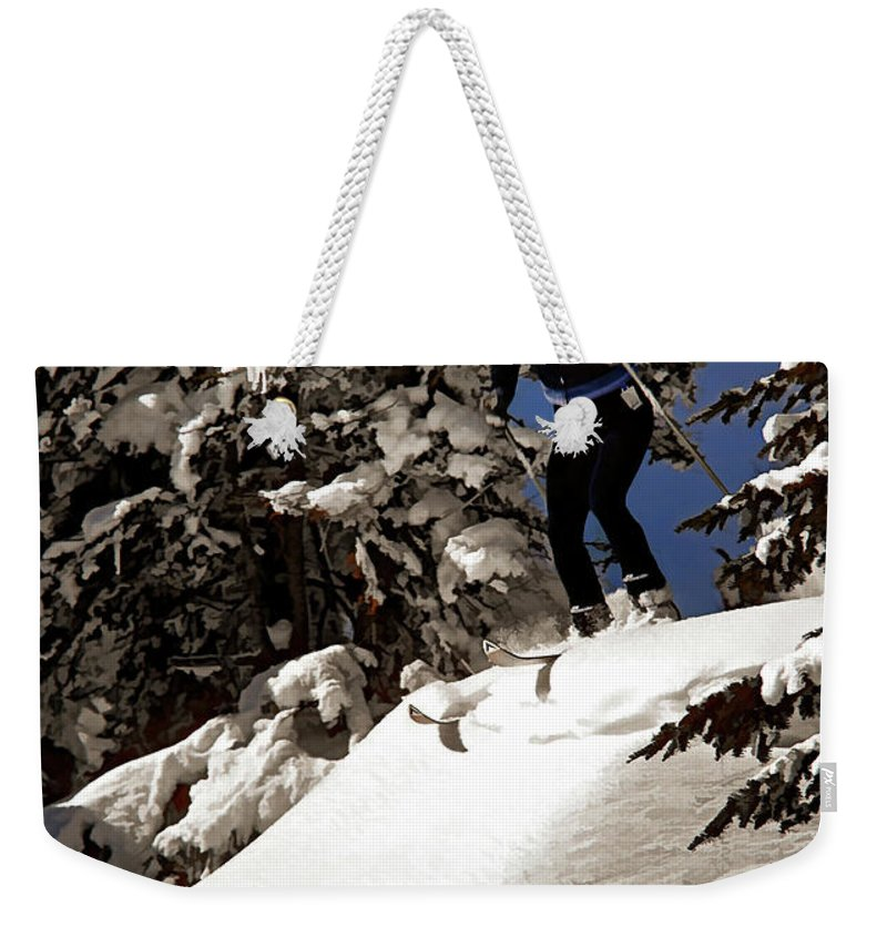 Smuggler's Notch Weekender Tote Bag featuring the photograph Powder Hound by Steve Harrington