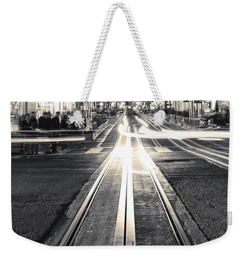 San Francisco Weekender Tote Bag featuring the photograph Powell And Market by Digital Kulprits