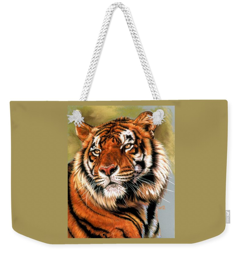 Tiger Weekender Tote Bag featuring the pastel Power And Grace by Barbara Keith