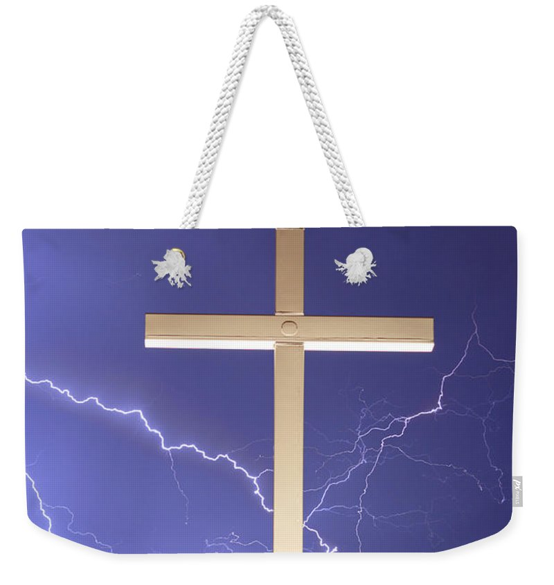Lightning Weekender Tote Bag featuring the photograph God Power by James BO Insogna