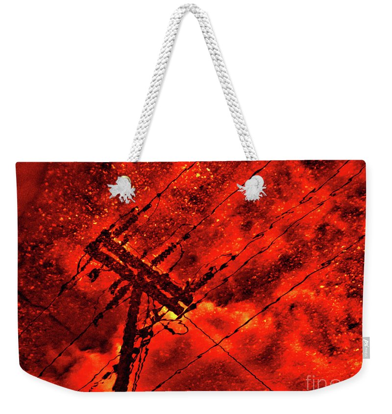 Abstract Weekender Tote Bag featuring the photograph Power Line - Asphalt - Water Puddle Abstract Reflection 02 by Jor Cop Images