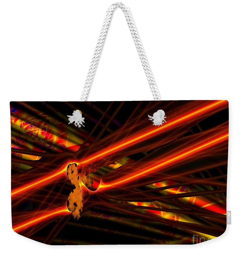 Power Lines Weekender Tote Bag featuring the digital art Power Lines by Ron Bissett