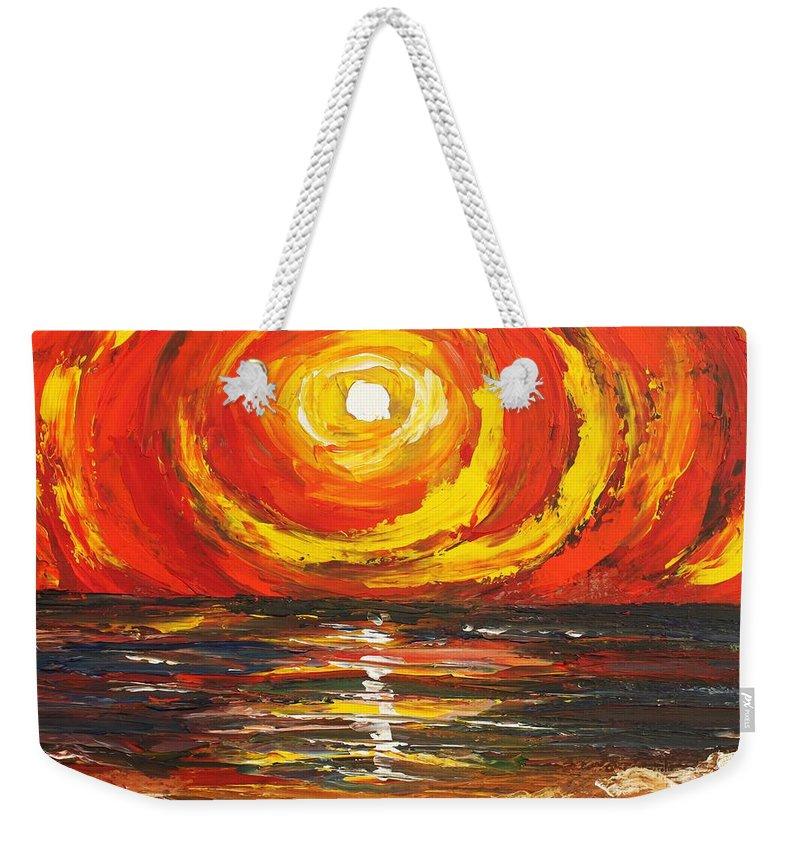 Power Weekender Tote Bag featuring the painting Power Source by Angel Reyes