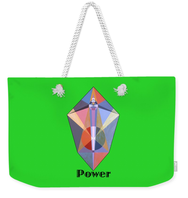 Painting Weekender Tote Bag featuring the painting Power text by Michael Bellon