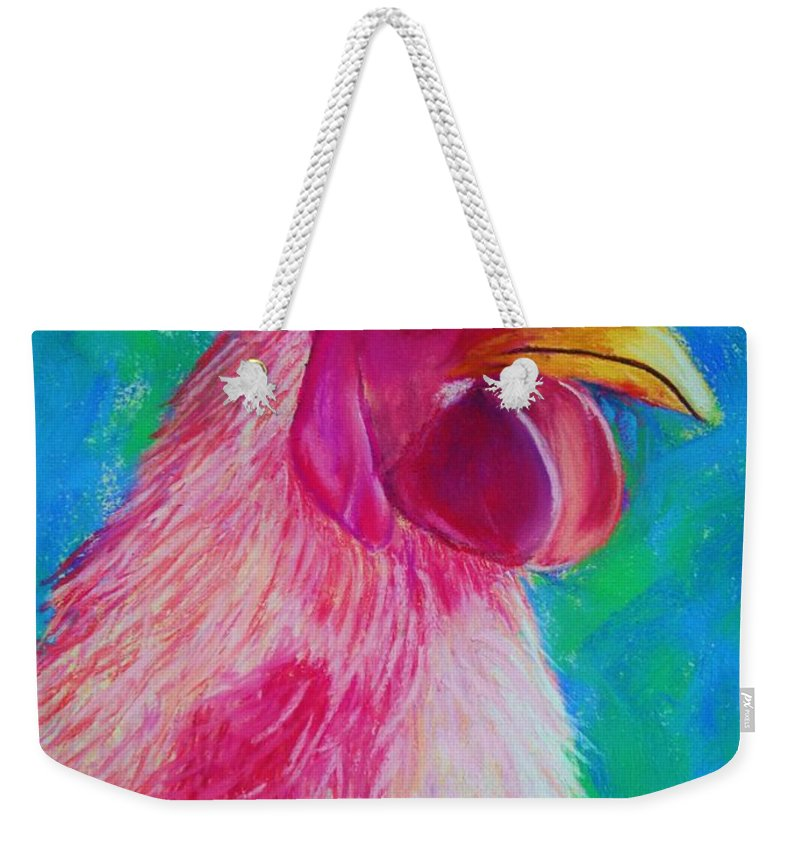 Rooster Weekender Tote Bag featuring the painting Powerful In Pink by Melinda Etzold