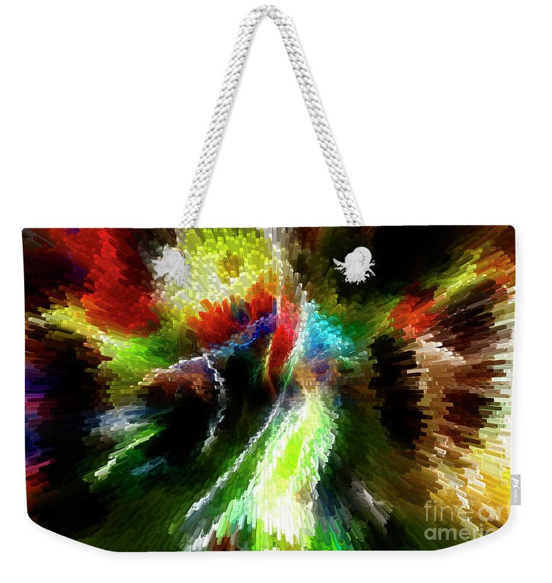 Color Weekender Tote Bag featuring the photograph Powwow Dancer Abstract by Vivian Christopher