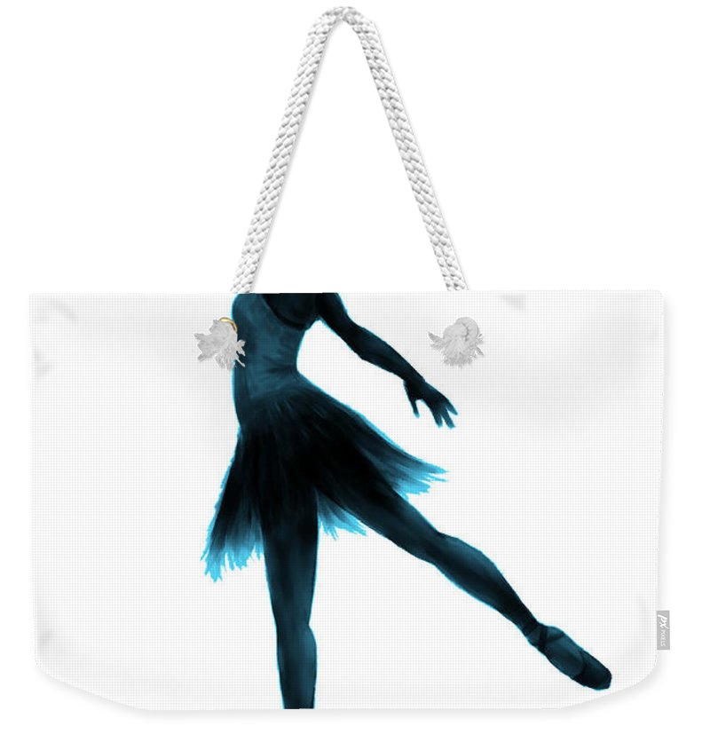 Ballet Weekender Tote Bag featuring the digital art Practice Makes Perfect - Blue by Alina Davis