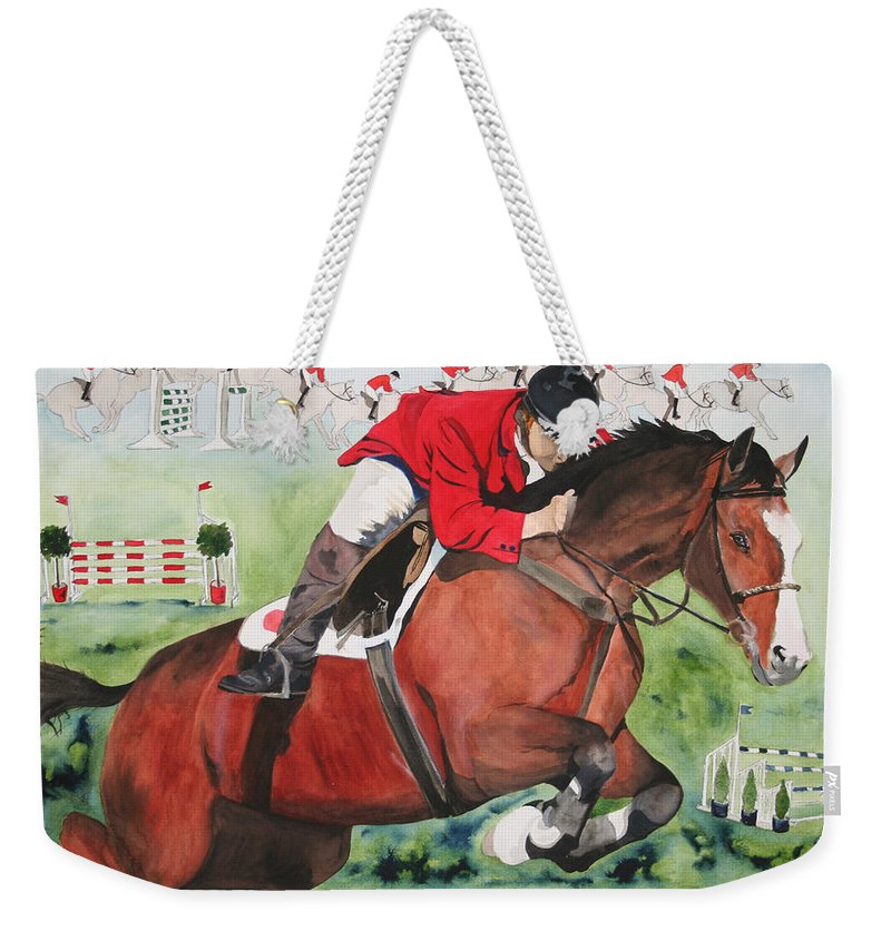 Horse Weekender Tote Bag featuring the painting Practice Makes Perfect by Jean Blackmer
