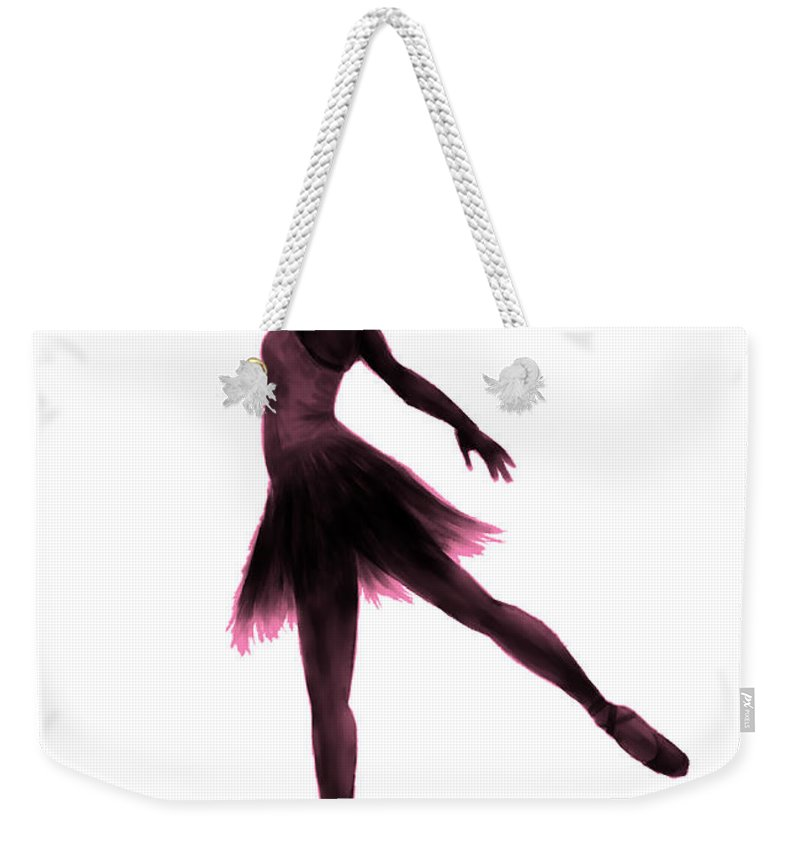 Ballet Weekender Tote Bag featuring the digital art Practice Makes Perfect - Pink by Alina Davis