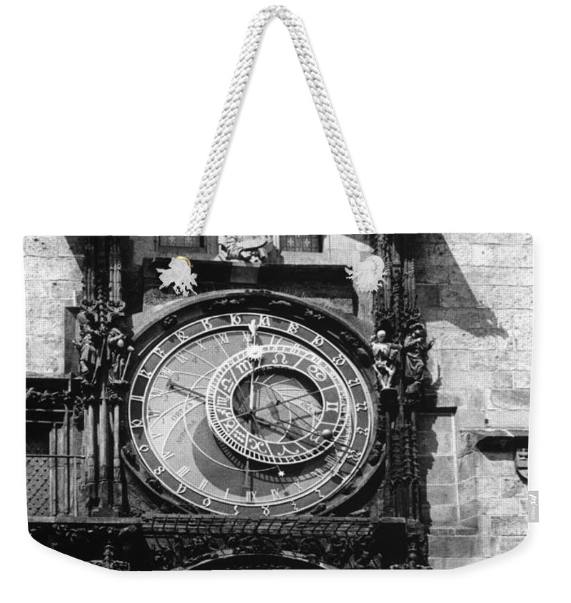 Prague Weekender Tote Bag featuring the photograph Prague Astronomical Clock 1410 by Guido Montanes Castillo