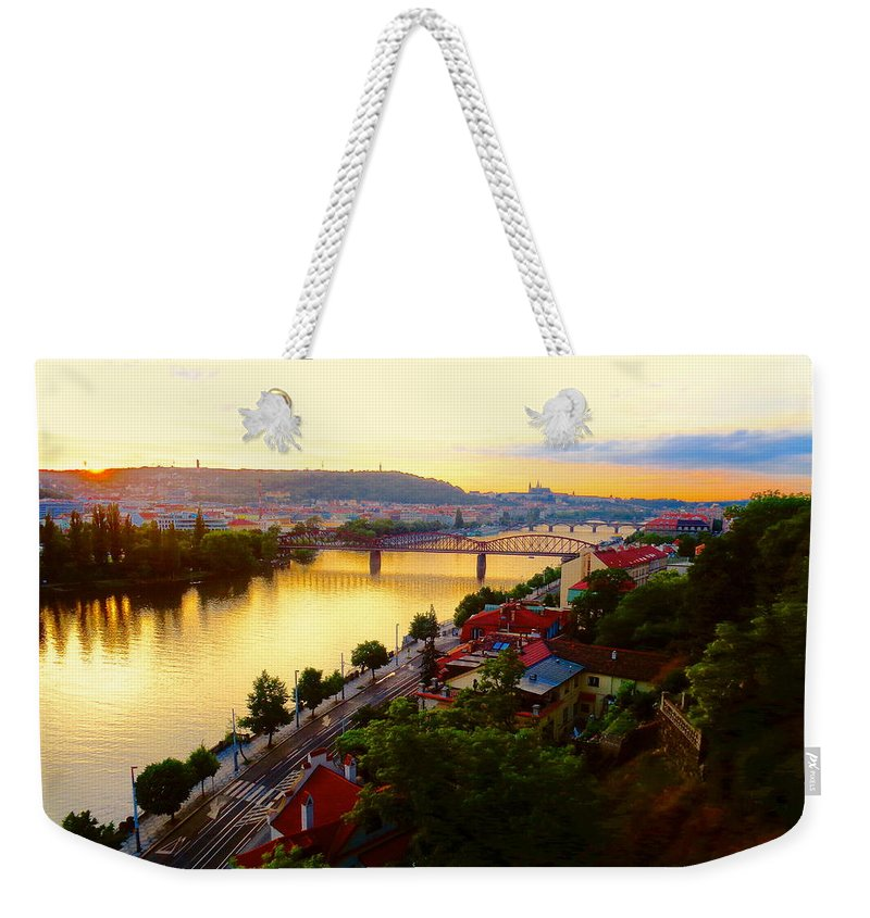 Prague Weekender Tote Bag featuring the photograph Prague At Sundown by Oliver Novak