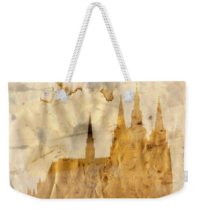 Prague Weekender Tote Bag featuring the mixed media Prague Castle by Michal Boubin