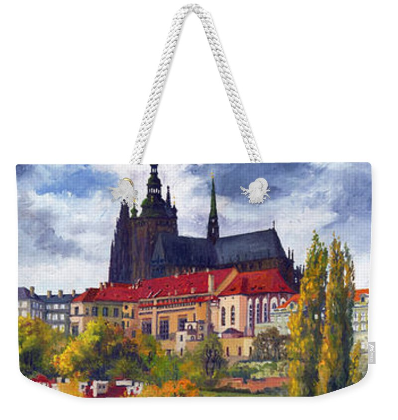 Prague Weekender Tote Bag featuring the painting Prague Castle with the Vltava River by Yuriy Shevchuk