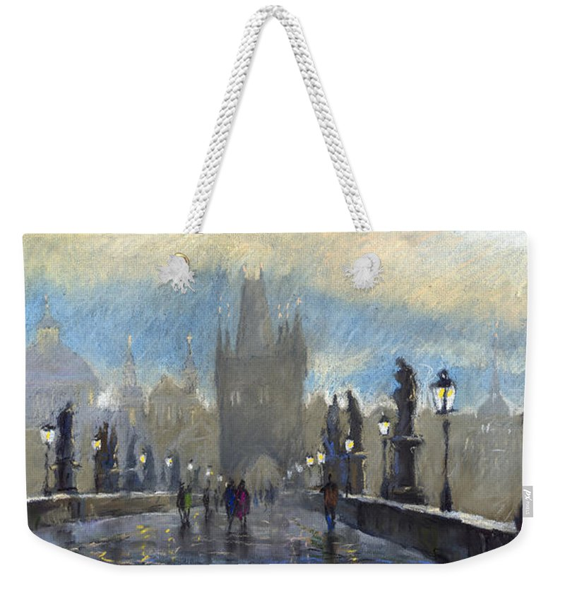 Pastel Weekender Tote Bag featuring the pastel Prague Charles Bridge 06 by Yuriy Shevchuk