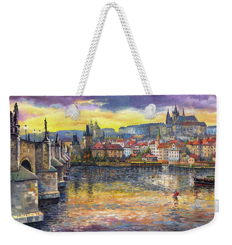 Oil On Canvas Weekender Tote Bag featuring the painting Prague Charles Bridge and Prague Castle with the Vltava River 1 by Yuriy Shevchuk