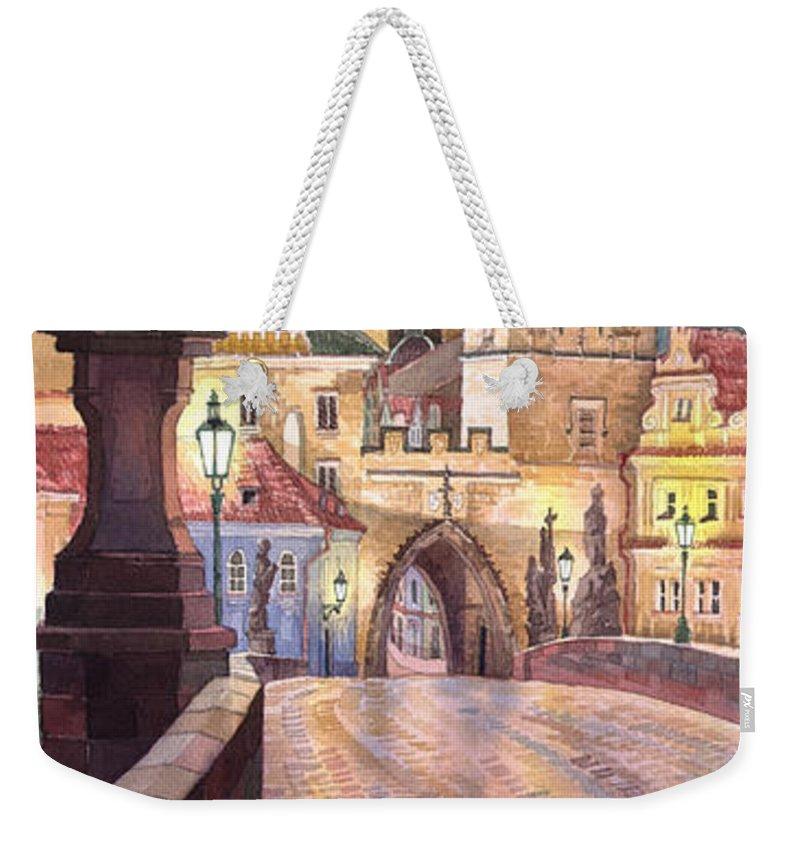 Watercolour Weekender Tote Bag featuring the painting Prague Charles Bridge Night Light 1 by Yuriy Shevchuk
