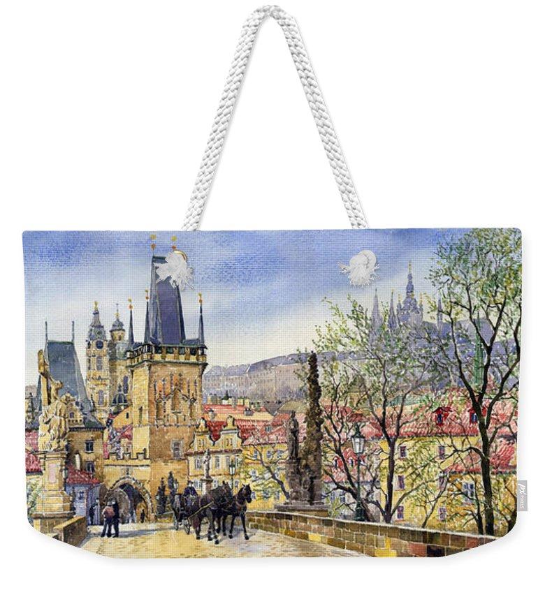 Watercolour Weekender Tote Bag featuring the painting Prague Charles Bridge Spring by Yuriy Shevchuk