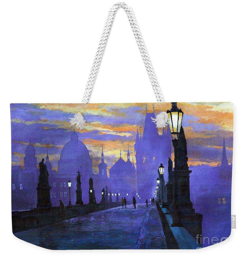 Acrilic On Canvas Weekender Tote Bag featuring the painting Prague Charles Bridge Sunrise by Yuriy Shevchuk