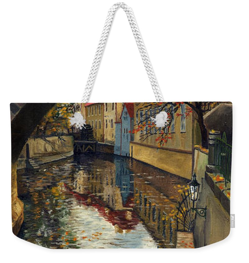 Oil Weekender Tote Bag featuring the painting Prague Chertovka 3 by Yuriy Shevchuk