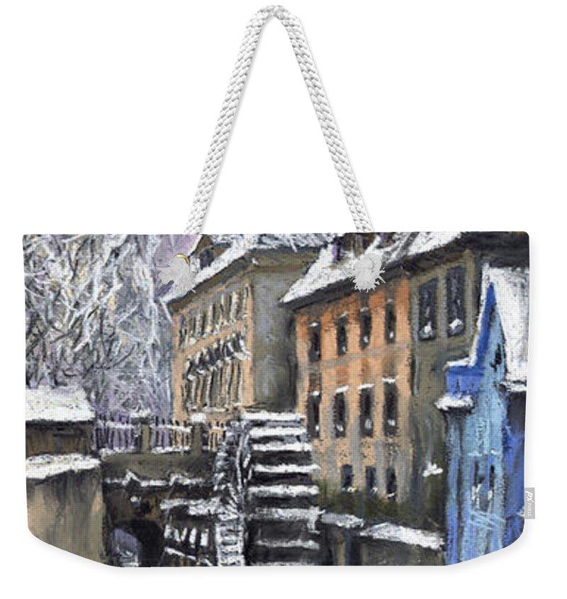 Pastel Weekender Tote Bag featuring the painting Prague Chertovka Winter by Yuriy Shevchuk