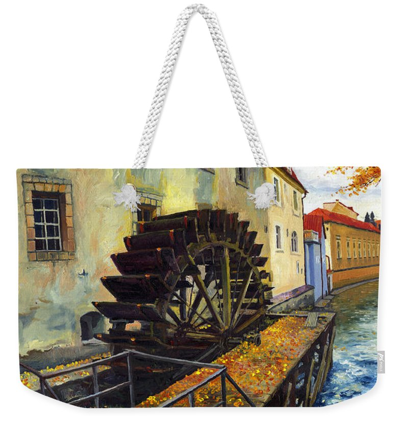 Prague Weekender Tote Bag featuring the painting Prague Chertovka by Yuriy Shevchuk
