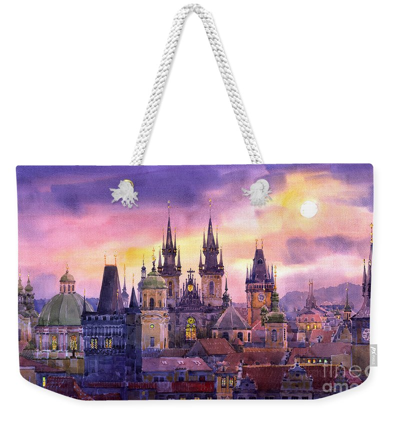 Architecture Weekender Tote Bag featuring the painting Prague City Of Hundres Spiers Variant by Yuriy Shevchuk