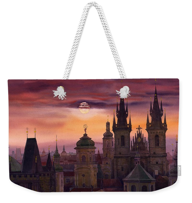 Cityscape Weekender Tote Bag featuring the painting Prague City Of Hundres Spiers by Yuriy Shevchuk