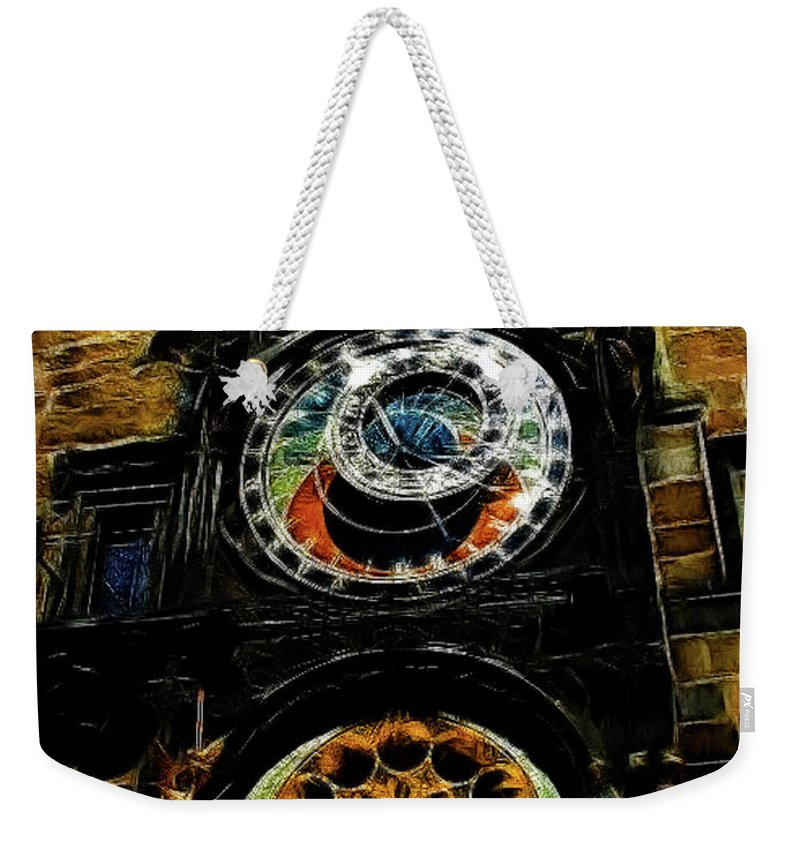 Prague Weekender Tote Bag featuring the digital art Prague Clock by Joan Minchak
