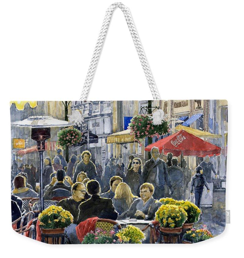 Watercolor Weekender Tote Bag featuring the painting Prague Mustek First Heat by Yuriy Shevchuk