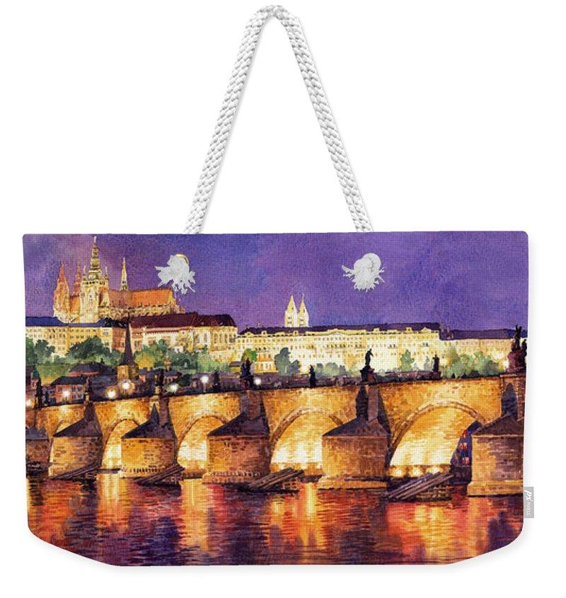 Watercolour Weekender Tote Bag featuring the painting Prague Night Panorama Charles Bridge by Yuriy Shevchuk