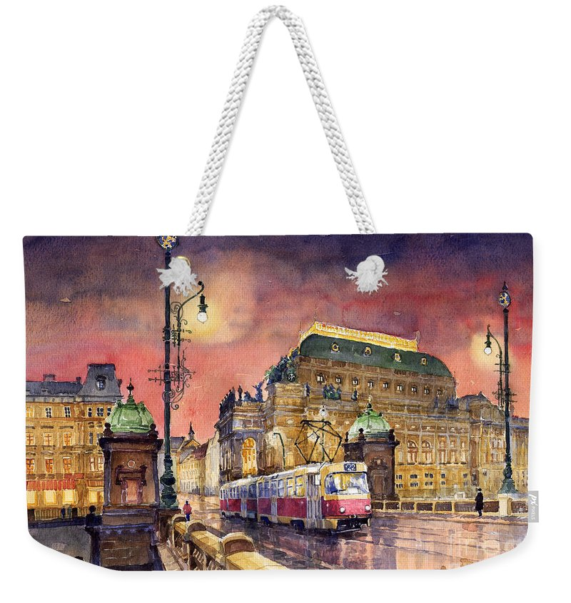 Bridge Weekender Tote Bag featuring the painting Prague Night Tram National Theatre by Yuriy Shevchuk