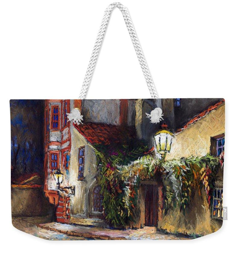 Prague Weekender Tote Bag featuring the painting Prague Novy Svet Kapucinska Str by Yuriy Shevchuk