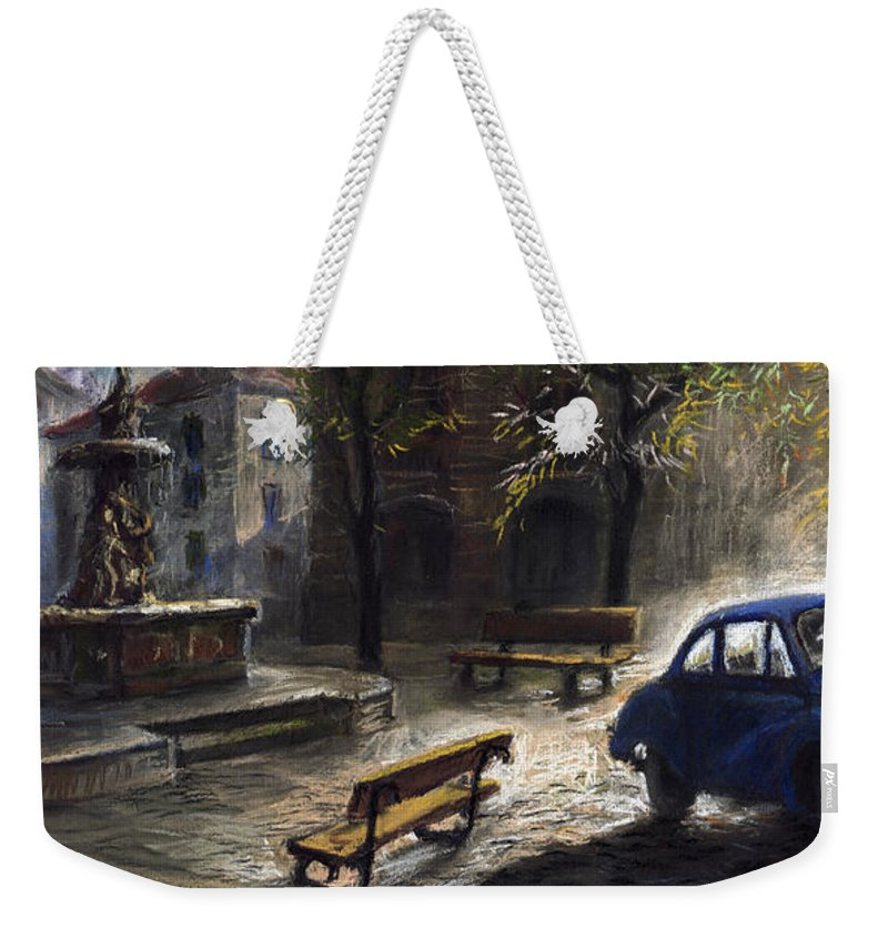 Prague Weekender Tote Bag featuring the painting Prague Old Fountain by Yuriy Shevchuk