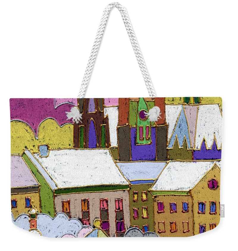 Pastel Weekender Tote Bag featuring the painting Prague Old Roofs Prague Castle Winter by Yuriy Shevchuk