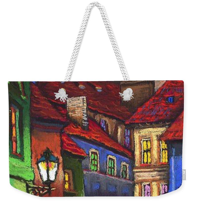 Pastel Weekender Tote Bag featuring the painting Prague Old Street 01 by Yuriy Shevchuk
