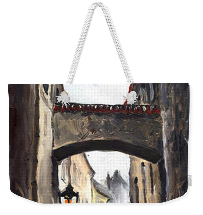 Oil On Canvas Paintings Weekender Tote Bag featuring the painting Prague Old Street 02 by Yuriy Shevchuk