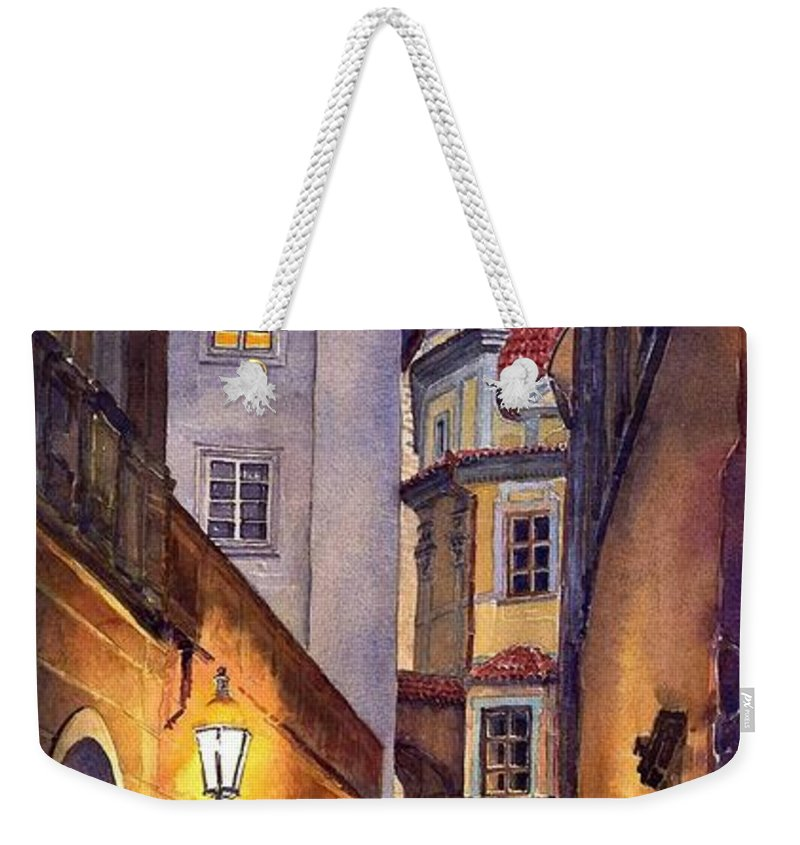 Cityscape Weekender Tote Bag featuring the painting Prague Old Street by Yuriy Shevchuk