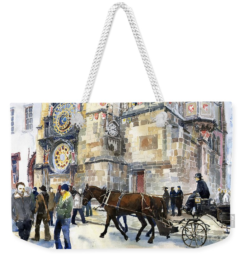 Watercolour Weekender Tote Bag featuring the painting Prague Old Town Square Astronomical Clock Or Prague Orloj by Yuriy Shevchuk