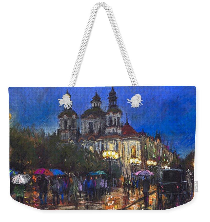 Prague Weekender Tote Bag featuring the pastel Prague Old Town Square St Nikolas Ch by Yuriy Shevchuk