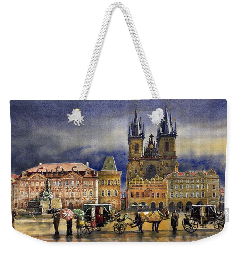Watercolor Weekender Tote Bag featuring the painting Prague Old Town Squere After rain by Yuriy Shevchuk