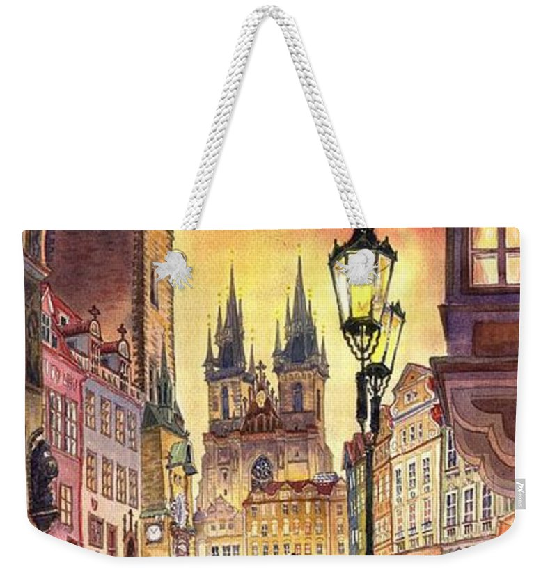 Cityscape Weekender Tote Bag featuring the painting Prague Old Town Squere by Yuriy Shevchuk