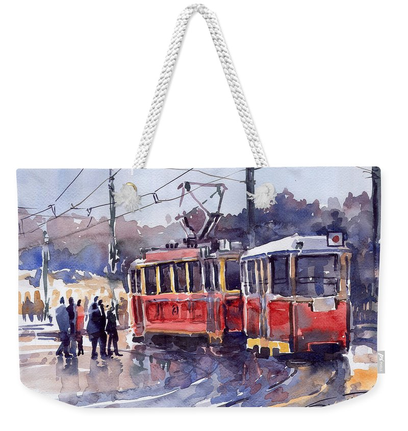 Cityscape Weekender Tote Bag featuring the painting Prague Old Tram 01 by Yuriy Shevchuk