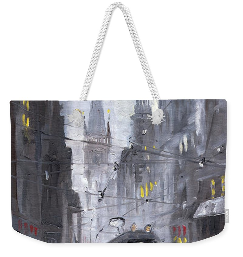 Oil On Canvas Weekender Tote Bag featuring the painting Prague Old Tram 03 by Yuriy Shevchuk